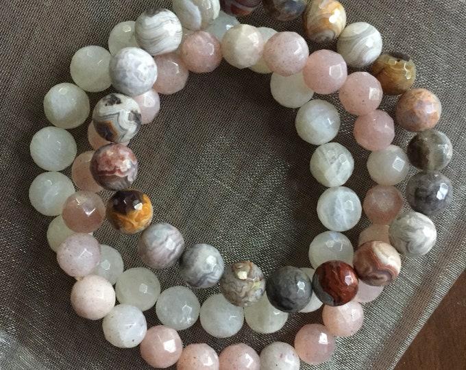 Bliss | Strawberry Sunstone, Moonstone + Crazy Lace Agate | Spiritual Junkies | Stack of 3 Yoga Mala Bracelets