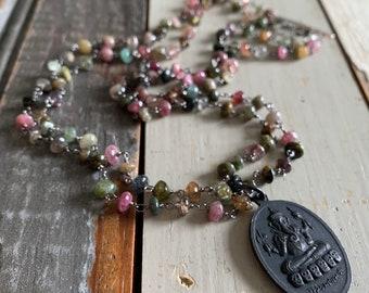 Oxidized Rosary Chain, Tourmaline + Ganesha Necklace | 18 inch | Sterling Silver Toggle | Spiritual Junkies | Yoga + Meditation