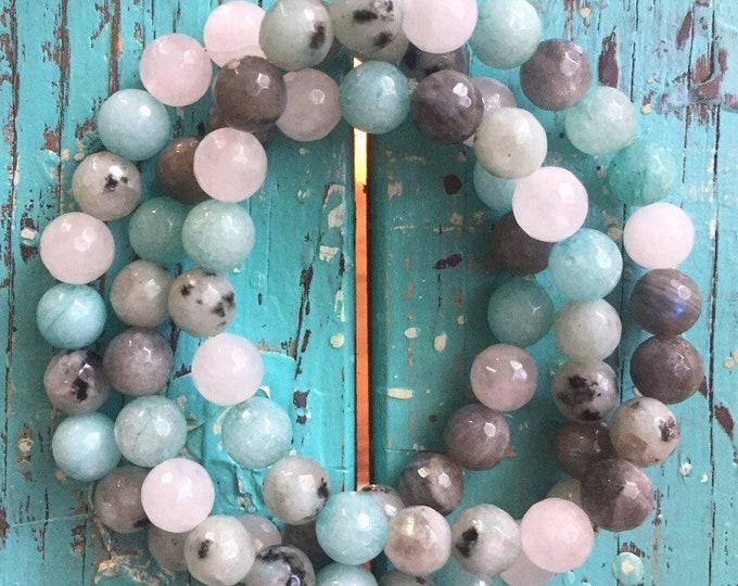 Reiki Love Infused | Amazonite, Sesame Jasper, Labradorite + Rose Quartz | Spiritual Junkies | Yoga + Meditation | Mala Bracelet