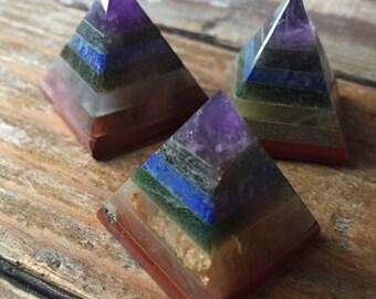 "Chakramid | Chakra Balancing Pyramid | Small 1"" | Reiki Love Infused | Spiritual Junkies | Crystal + Gemstone"