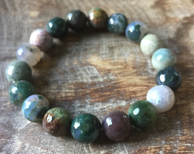 Faceted Indian Agate | Chunky 10 mm | Spiritual Junkies | Yoga + Meditation | Stackable Mala Bracelet