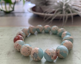 Super Chunky Aqua Impression Jasper | 12 mm | Spiritual Junkies | Yoga + Meditation | Stackable Mala Bracelet