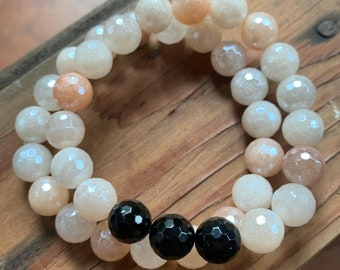 Chunky Mystic Mermaid Peach Aventurine + Tourmaline Bracelet | 10 mm | Spiritual Junkies | Yoga + Meditation | Stackable Mala Bracelet