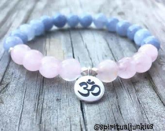 Custom for Natasha: Aquamarine, Rose Quartz + Sterling Silver Om   Spiritual Junkies   Yoga + Meditation   Stackable Mala Bracelet
