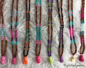 Buddha Babies | Kids 108 Bead Yoga Mala | Sandalwood, Faceted Jade + Buddha or Ganesha Mini Mala | 6 mm | Meditation | Candy Jade (Dyed)