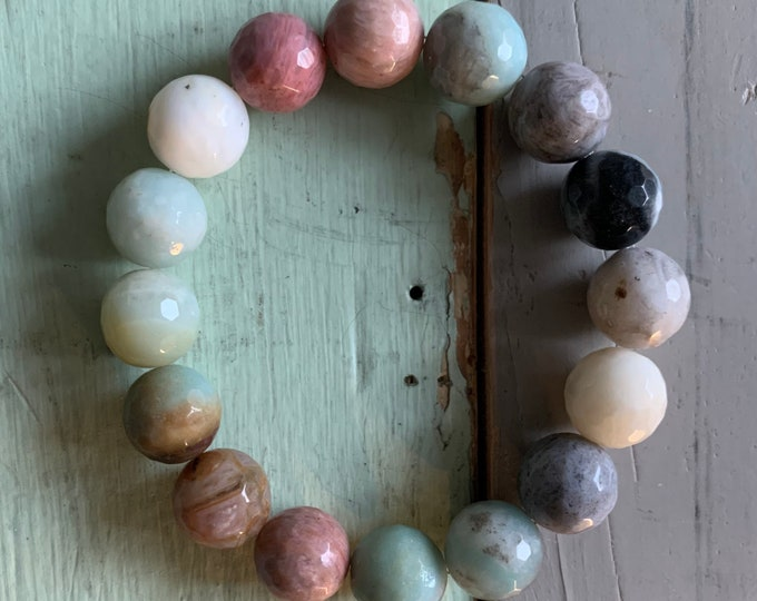 Peaceful Presence Bracelet | Super Chunky Amazonite, Bamboo Agate + Rhodonite | 12 mm | Spiritual Junkies | Yoga + Meditation
