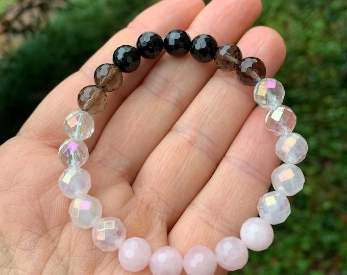 Breast Cancer Support Bracelet | Tourmaline, Smoky Quartz, Rainbow Aura Quartz, Pink Aura Quartz + Rose Quartz | Spiritual Junkies