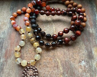 Invincible Goddess   Durga   Wood, Smoky Quartz, Tigers Eye, Jasper, Carnelian, Citrine + Rose Gold Om Mala   Spiritual Junkies