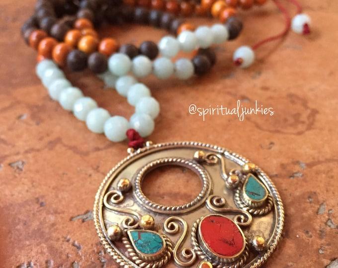 Mixed Wood, Amazonite + Tibetan Silver Pendant Mini Mala | 108 Beads | 6 mm | Spiritual Junkies | Yoga + Meditation