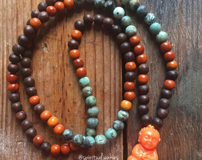Agarwood, Redwood African Turquoise (Jasper) + Orange Buddha Mini Mala | 108 Beads | 6 mm | Yoga + Meditation | Kids Jewelry