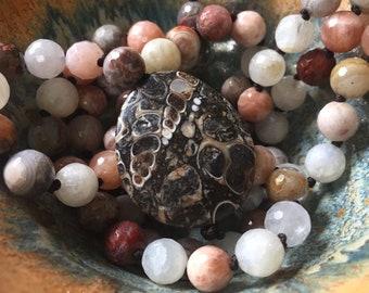 Bliss | Sunstone, Moonstone, Crazy Lace + Turritella Agate Mala | 108 Beads | Handknotted | 8 mm | Spiritual Junkies | Yoga + Meditation