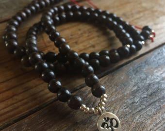 Adjustable 108 Bead Spiritual Junkies Dark Brown Agarwood + Hill Tribe Sterling Silver Om Mini Mala or Wrap Bracelet (6 mm)