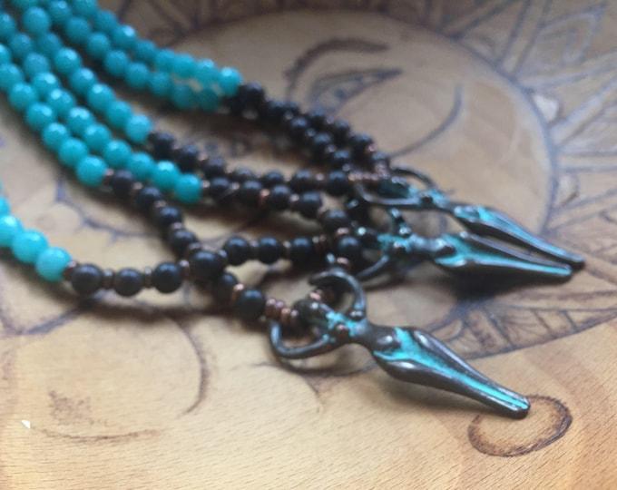 54 Bead Agarwood, Turquoise Dyed Jade + Patina Goddess Pendant Yoga and Meditation Mini Mala with Copper Metal Spacers