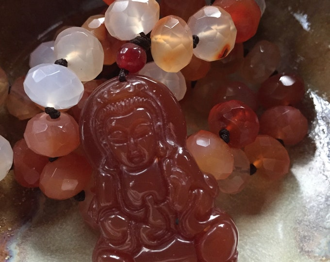Chunky Carnelian Red Agate Rondelles + Carnelian Kuan Yin Mala | 54 Bead | 10 mm | Handknotted | Spiritual Junkies | Yoga + Meditation