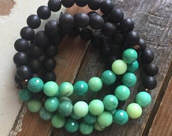 Black Sandalwood + Chrysoprase | Spiritual Junkies | Yoga + Meditation | Stackable Mala Bracelet