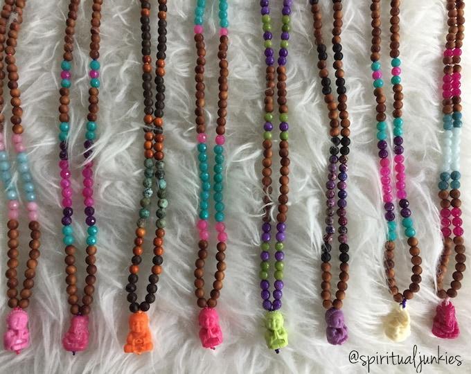Kids 108 Bead Yoga Mala | Sandalwood, Faceted Jade + Buddha or Ganesha Mini Mala | 6 mm | Meditation | Candy Jade (Dyed)