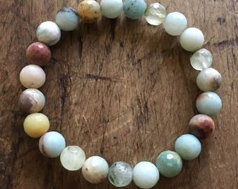 Heart Wide Open | Faceted Amazonite + Prehnite | Spiritual Junkies | Yoga + Meditation | Stackable Mala Bracelet