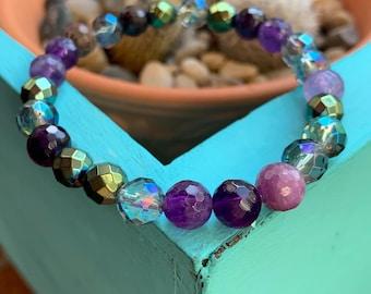 Mermaid Soul Bracelet   Amethyst, African Ruby, Mermaid Hematite, Mermaid Aura Quartz + Twilight Aura Quartz   Spiritual Junkies