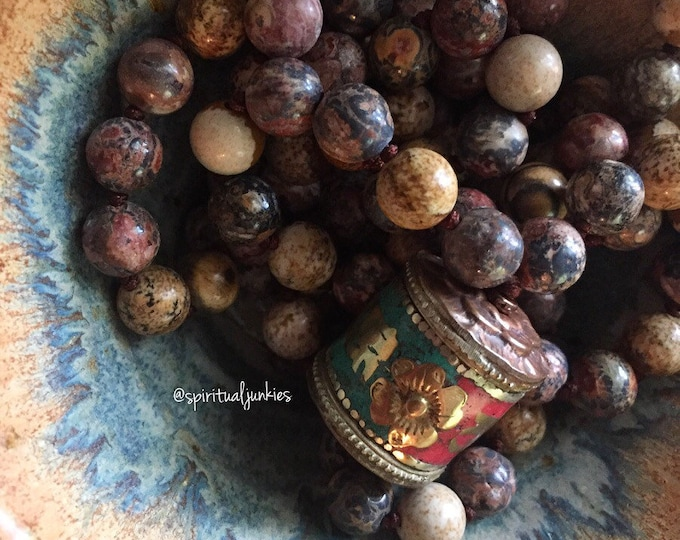 Picture Jasper, Leopard Skin Jasper + Tibetan Prayer Wheel Mala | 108 Beads | Handknotted | Spiritual Junkies | Yoga + Meditation