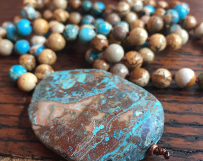 108 Bead Handknotted Spiritual Junkies Picture Jasper, Impression Jasper + Ocean Jasper Yoga and Meditation Mala