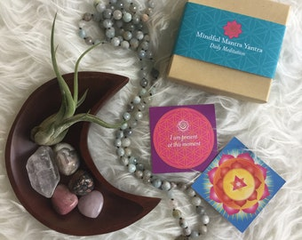 Heart Opener | Jasper, Quartz, Rose Quartz, Rhodonite, Agate + Air Plant | Reiki | Spiritual Junkies | Moon Bowl Altar | Mantra Cards