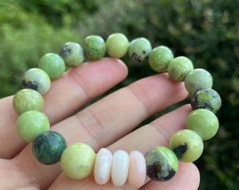 Chunky Chrysoprase + Pink Opal Rondelles | 10 mm | Spiritual Junkies | Yoga + Meditation | mala beads
