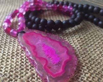 108 Bead Spiritual Junkies Black Sandalwood, Pink Agate + Pink Sliced Agate Pendant Yoga and Meditation Mini Mala (6 mm beads)