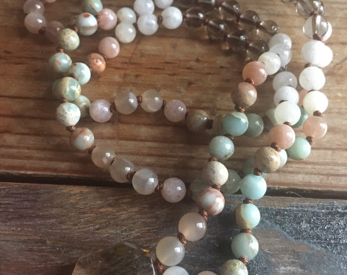 Sunstone, Moonstone, Aqua Terra Jasper + Smoky Quartz Beachy Ombre Mini Mala | 108 Bead | 6 mm Beads | Spiritual Junkies | Yoga + Meditation