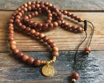 Sandawood + Gold Vermeil Lous Mini Mala | 108 Beads | 6 mm | Spiritual Junkies | Yoga + Meditation