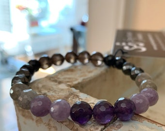 Empath Support Bracelet   Smoky Quartz, Tourmaline, Hematite, Labradorite, Lepidolite + Amethyst Bracelet   Spiritual Junkies