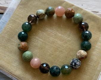 Woodland Bliss Bracelet   Chunky Moss Agate, Peruvian Opal, Sunstone + Smoky Quartz   10 mm   Spiritual Junkies   Yoga + Meditation   Mala