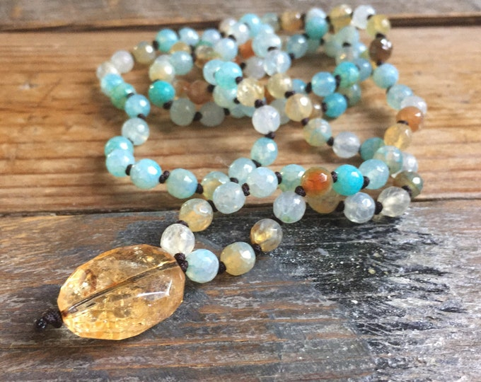 Ice Blue Cracked Agate + Lemon Quartz Mini Mala | 108 Bead Handknotted | Spiritual Junkies | Yoga + Meditation | 6 mm
