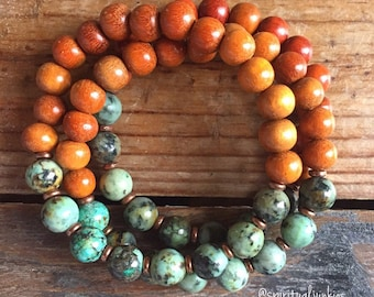 Stackable Mala Inspired Spiritual Junkies Natural Redwood + African Turquoise Yoga and Meditation Bracelet