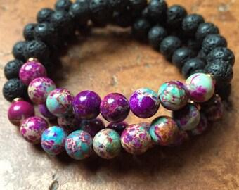 Lava Bead + Purple with Teal Jasper   Essential Oil Diffuser   Spiritual Junkies    Yoga + Meditation   Stackable Mala Bracelet