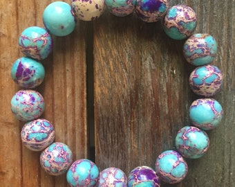 Teal + Purple Jasper | Chunky 10 mm | Spiritual Junkies | Yoga + Meditation | Mala Bracelet | Color Enhanced