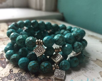 Faceted Turquoise Magnesite + Thai Sterling Silver Yin Yang | Spiritual Junkies Yoga + Meditation | Stackable Mala Bracelet | Color Enhanced