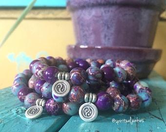 Stackable Spiritual Junkies Purple and Teal Jasper + Hill Tribe Sterling Silver Yin Yang Yoga and Meditation Bracelet (single bracelet)
