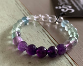 Amethyst, Fluorite + Quartz Bracelet | Spiritual Junkies | Yoga + Meditation | Stackable Mala Bracelet