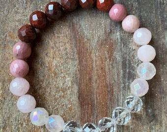 Love Potion Bracelet   Manifesting Love   Quartz, Pink Aura Quartz, Rose Quartz, Rhodonite + Red Jasper   Spiritual Junkies   Stackable Mala