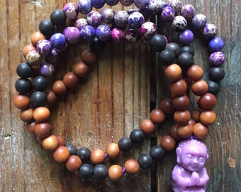 Sandalwood, Black Sandalwood, Purple Jasper + Lilac Buddha Mini Mala | 108 Beads | 6 mm | Yoga + Meditation | Kids Jewelry