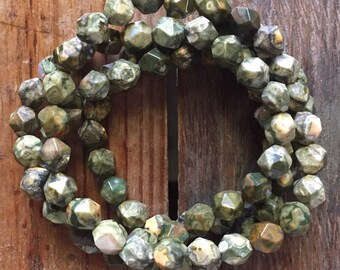 Rhyolite Star Cut Nuggets   Rainforest Jasper   Spiritual Junkies   Yoga + Meditation   Stackable Mala Bracelet