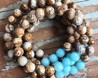 Picture Jasper + Amazonite | Spiritual Junkies | Yoga + Meditation | Single Stackable Mala Bracelet
