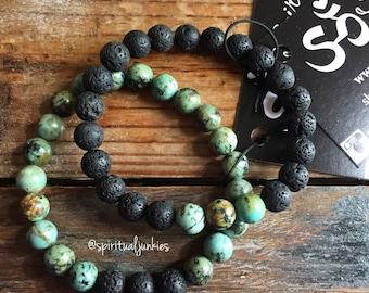 African Turquoise + Lava | Diffuser Bracelet | Spiritual Junkies | Yoga + Meditation | Stackable Mala Bracelet
