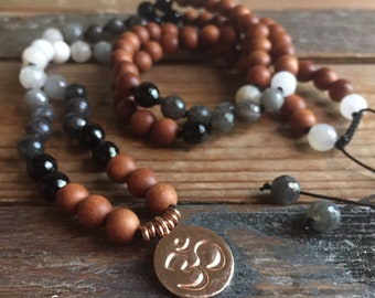 Moon Phased | Sandalwood, Moonstone, Labradorite + Rose Gold Vermeil Om Mala | 108 Bead | Partially Handknotted | Spiritual Junkies | Yoga