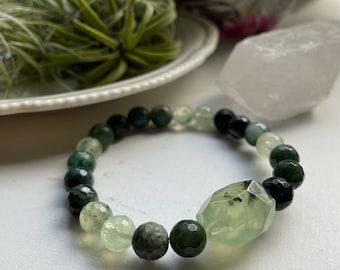 Heart Shine Bracelet   Kambaba Jasper, Moss Agate + Prehnite   Heart Chakra   Spiritual Junkies   Yoga + Meditation   Stackable Mala Beads