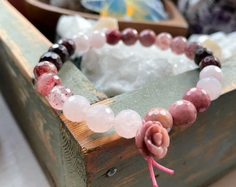 Cherished Bracelet   Garnet, Strawberry Quartz, Rose Quartz, Rhodonite + Rhodonite Rose   Spiritual Junkies   Stackable Mala   Yoga