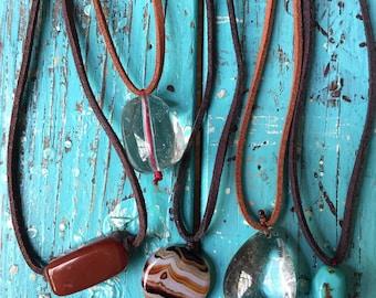 Vegan Leather + Crystal | Adjustable Length Choker Necklace | Reiki Love Infused | Spiritual Junkies | Yoga + Meditation