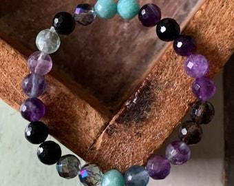 Mercury Retrograde Bracelet | Tourmaline, Amethyst, Fluorite, Amazonite, Smoky + Aura Quartz | Spiritual Junkies