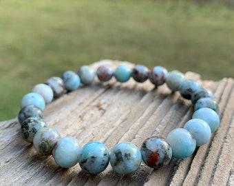 Rustic Larimar Bracelet   Spiritual Junkies   Yoga + Meditation   Stackable Mala Bracelet