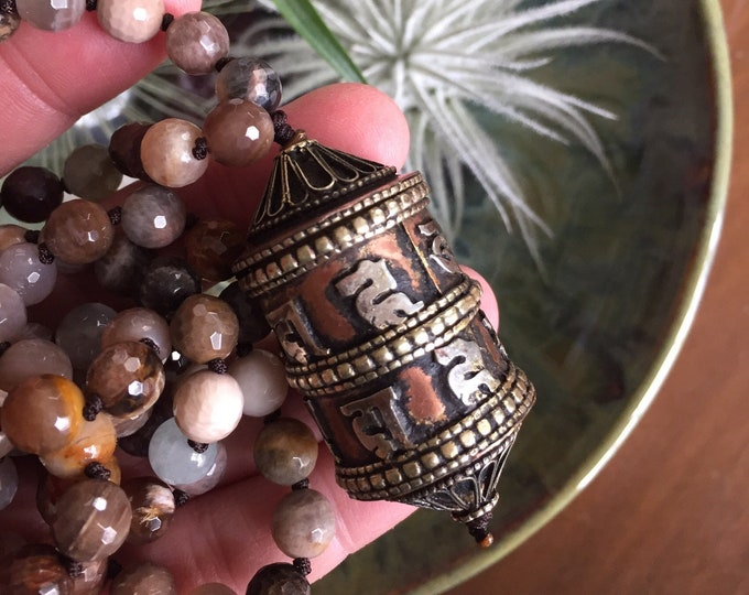Chocolate (Black) Sunstone, Sunstone + Tibetan Prayer Wheel Mala | 108 Bead | Handknotted | Spiritual Junkies | Yoga + Meditation